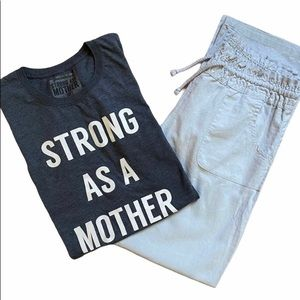 Graphic t-shirt. Strong as a Mother . Blue grey